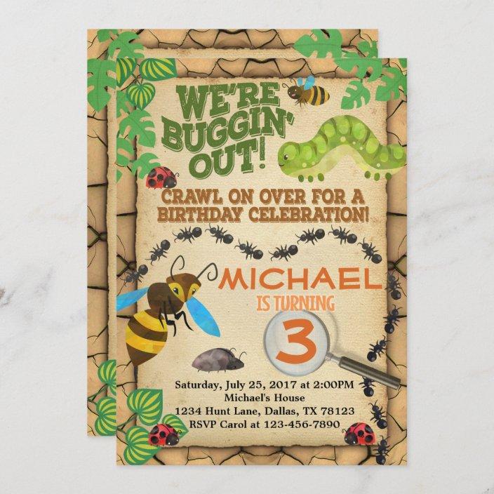 bug insect birthday party invitation invite boy zazzle com