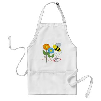Bumble Bee With Flowers Bee Love Apron