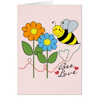 Bumble Bee With Flowers Bee Love Greeting Cards