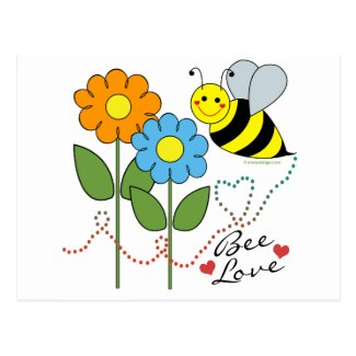 Bumble Bee With Flowers Bee Love Postcards