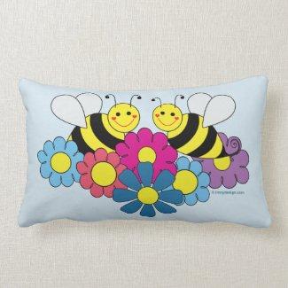 Bumble Bees & Flowers Design Lumbar Pillow