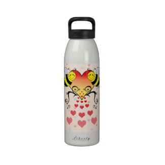Bumble Bees With Hearts Design Drinking Bottles