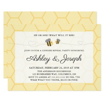 Bumblebee Gender Reveal Party Invitation