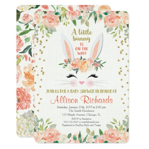 Bunny baby shower invitation peach cream Easter