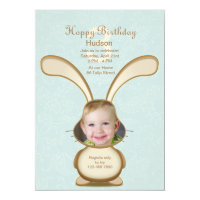 Bunny Birthday Photo Invitation