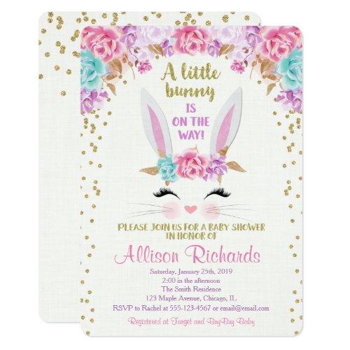 Bunny easter baby shower invitation girl