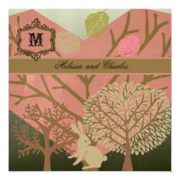 Bunny in Magic Forest Square Wedding Invitation