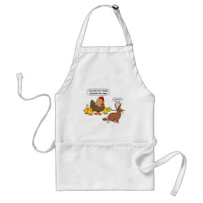 Bunny makes chocolate poop funny cartoon apron
