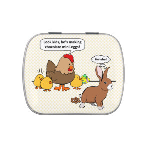 Bunny makes chocolate poop funny cartoon jelly belly tin