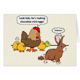 Bunny makes chocolate poop funny cartoon card