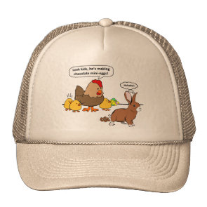 Bunny makes chocolate poop funny cartoon hat