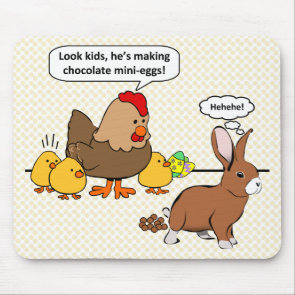 Bunny makes chocolate poop funny cartoon mousepads