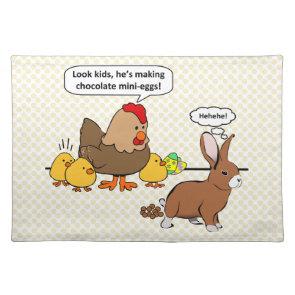 Bunny makes chocolate poop funny cartoon place mat