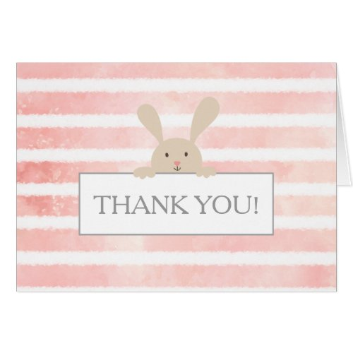 Bunny Pink Stripe Baby Shower Thank You