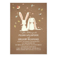 Bunny Rabbits Cute Rustic Woodland Wedding Card