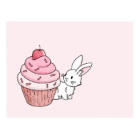 Bunny with a pink cupcake postcard