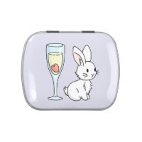 Bunny with Champagne Jelly Belly Candy Tin