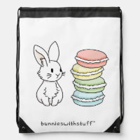 Bunny with Macaroons Drawstring Bag