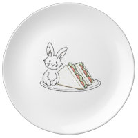 Bunny with Sandwiches Dinner Plate