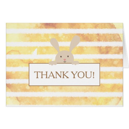 Bunny Yellow Stripe Baby Shower Thank You