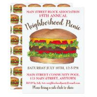 Burger Hamburger Cheeseburger Picnic Cookout Party Card