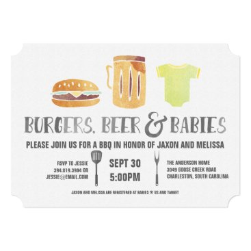Burgers, Beer, and Babies - Couple's Baby Shower Card