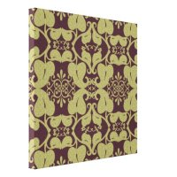 Burgundy And Gold Ornate Canvas Wall Art