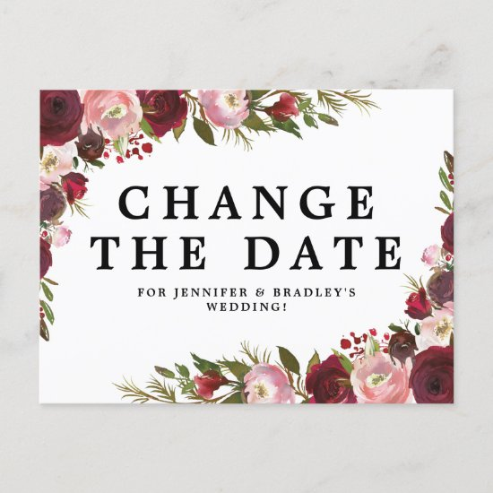 Burgundy Blush Floral Change The Date Announcement Postcard