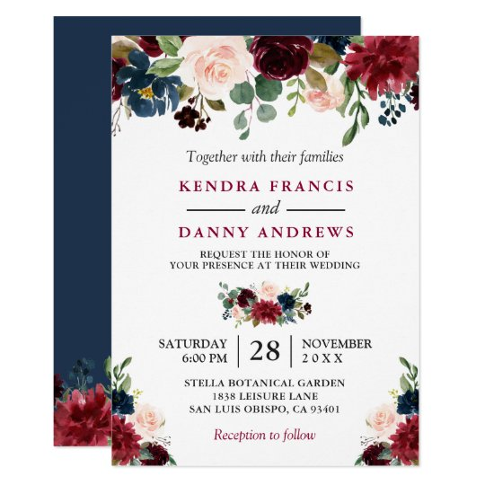 Navy Blue And Gold Bridal Shower Invitations