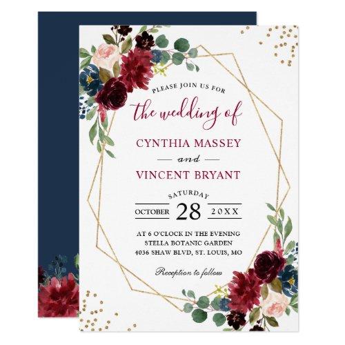 Burgundy Floral Blue Gold Modern Geometric Wedding Invitation
