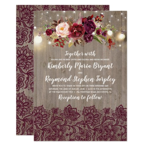Burgundy Floral Lace Rustic Wedding Invitation