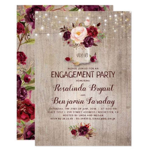 Burgundy Floral Mason Jar Rustic Engagement Party Invitation