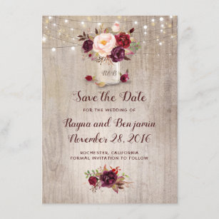 Burgundy Fl Mason Jar Rustic Save The Date