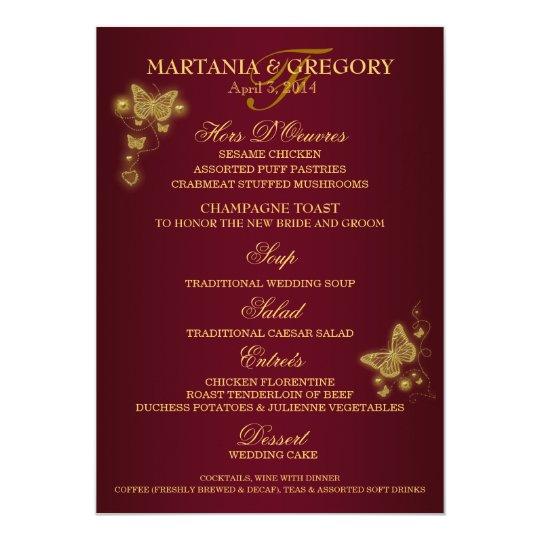 Burgundy Gold Erfly Wedding Menu Card