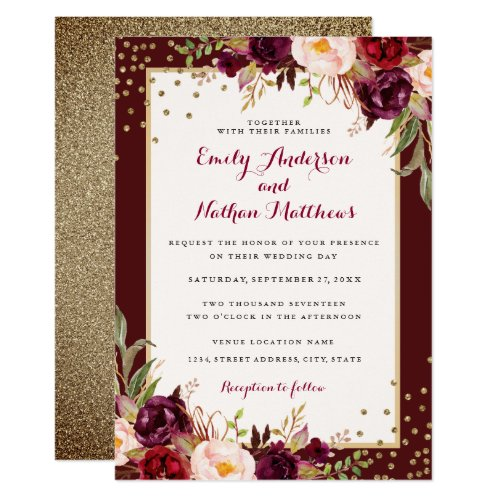 Burgundy Gold Confetti Floral Wedding Invitation