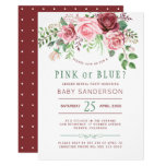 Burgundy Green Roses Baby Gender Reveal Party Invitation