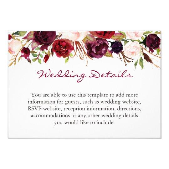 Burgundy Marsala Red Fl Wedding Details Info Card