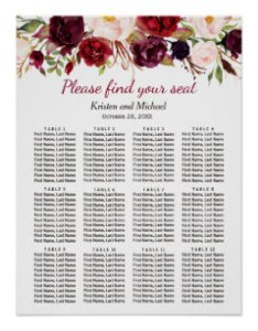 Burgundy marsala red floral wedding seating chart also charts zazzle rh