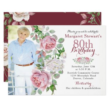 Burgundy Pink Country Rose Photo 80th Birthday Invitation