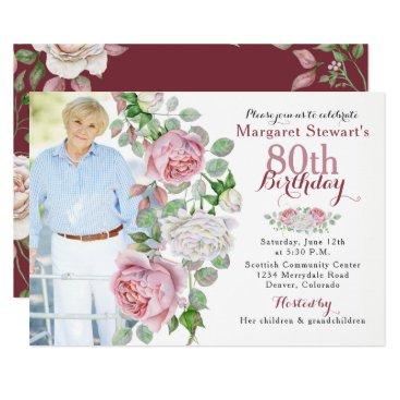 Burgundy Pink Country Rose Photo 80th Birthday Invitation