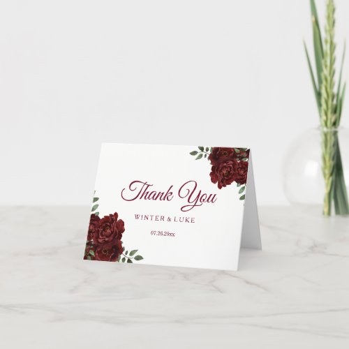 Burgundy Red Rose Wedding or Quinceanera Thank You