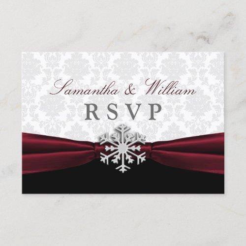 Burgundy Ribbon Winter Wedding RSVP Card