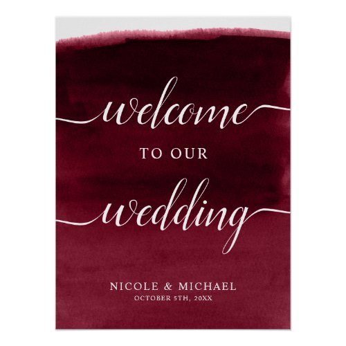 Burgundy Watercolor Wedding Welcome Sign Poster