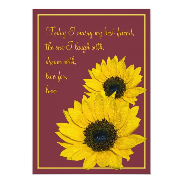 Burgundy Yellow Sunflower Wedding Invitation