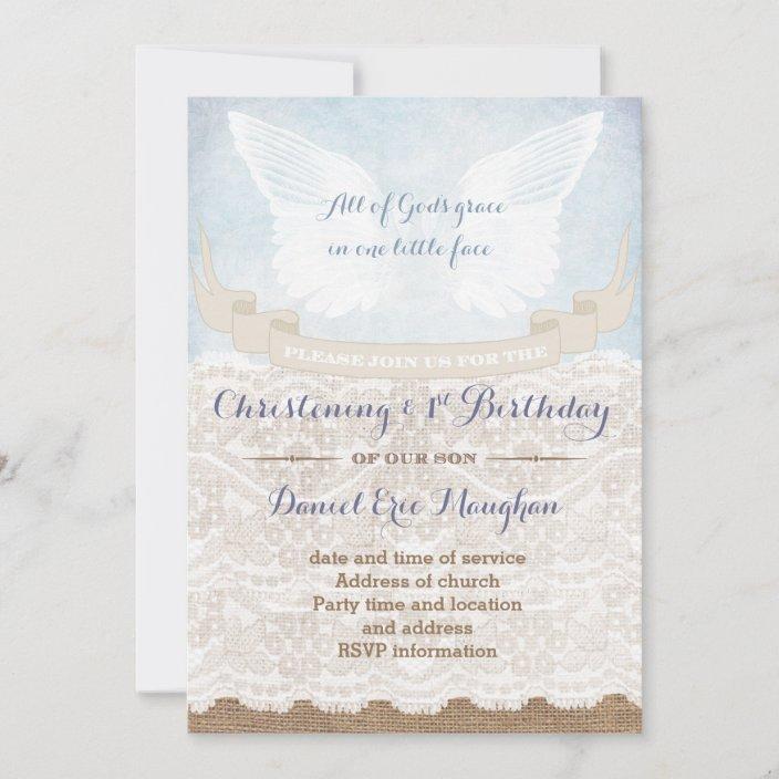 burlap 1st birthday and christening party for boy invitation zazzle com