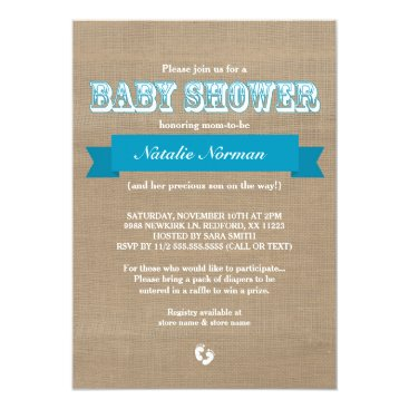 Burlap and blue ribbon rustic baby boy shower card
