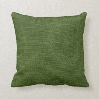 Burlap Simple Dark Green Throw Pillow