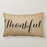 Burlap Thankful Family Rustic Throw Pillow | Zazzle