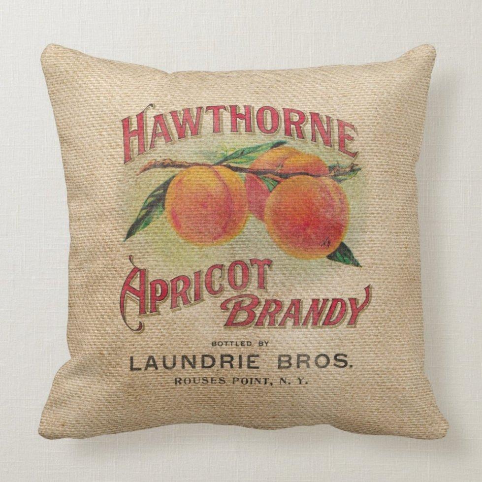 Burlap Vintage Apricot Brandy Throw Pillow