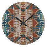 Burnt Orange Brown Teal Blue Tribal Mosaic Pattern Wallclock